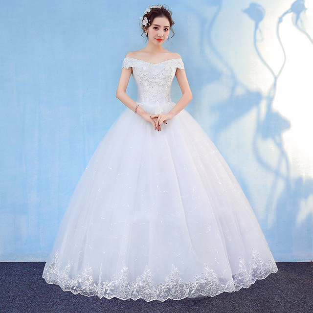 HMHS-090#White Boat Neck Bride Wedding Dress Ball Gown Lace Up Wholesale Party Dresses Luxury Sequins Free delivery some country 3