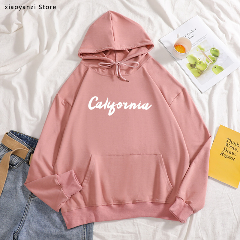 California Print Women Hoodies Cotton Casual Funny Pullovers For Lady Girl Sweatshirts Hipster Sportswear OT-214