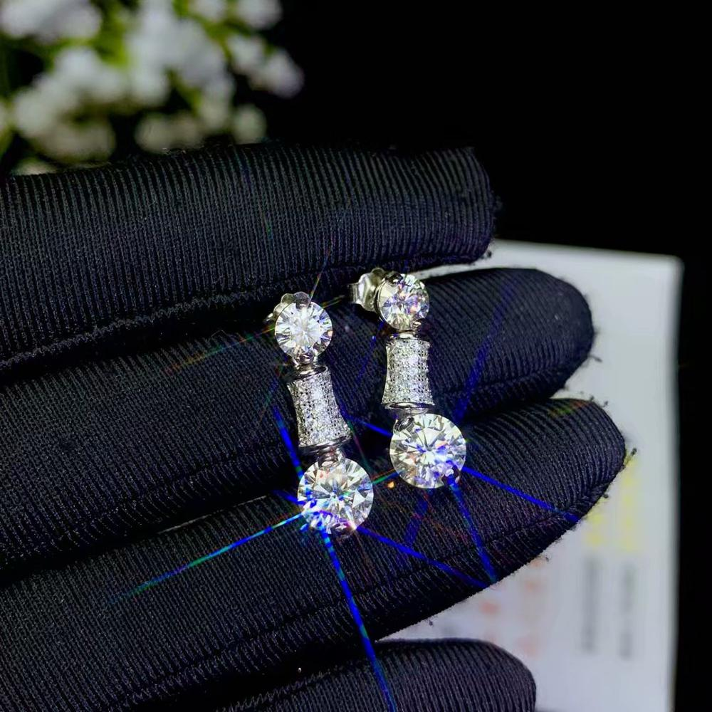 Real Moissanite.Latest Design, 925 Silver, Eardrop Style, Fashion Gift Diamond Earrings