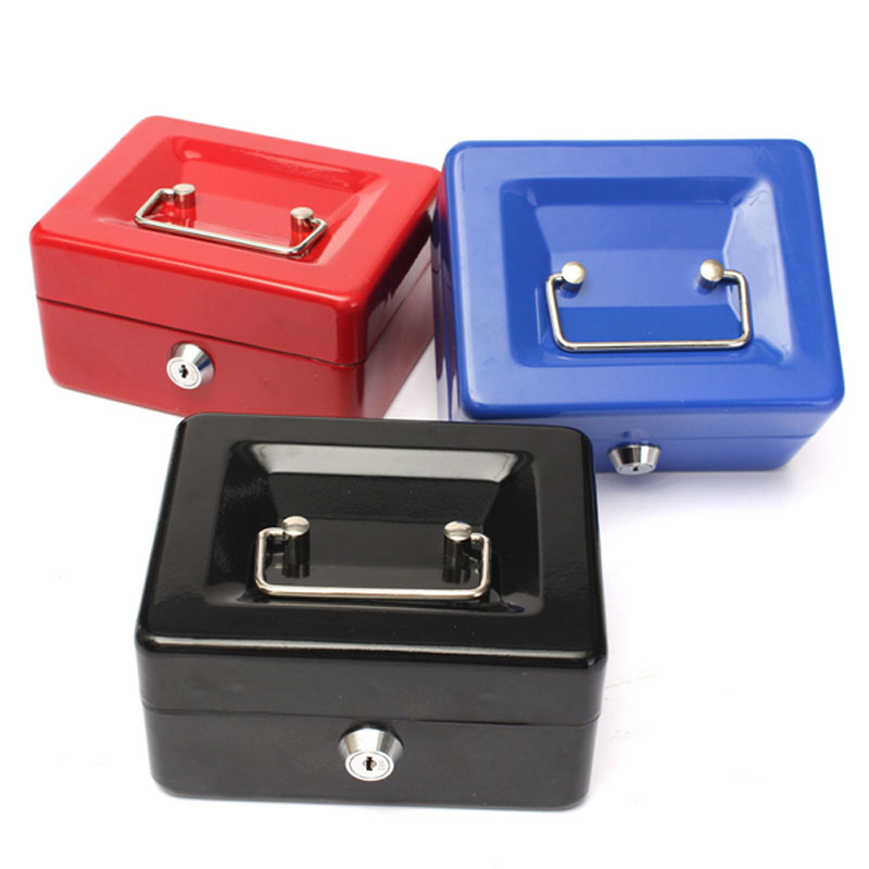 Prático Mini Petty Cash Money Box Bloqueio Com Chave de Segurança De Segurança Em Aço Inoxidável Tamanho Pequeno Ajuste para a Decoração Da Casa 3