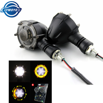2PCS Universal Motorcycle DRL Turn Signal Light Motorbike Led Indicator Daytime Running Light Flowing Brake Strobe Flash DC12V - White and Yellow