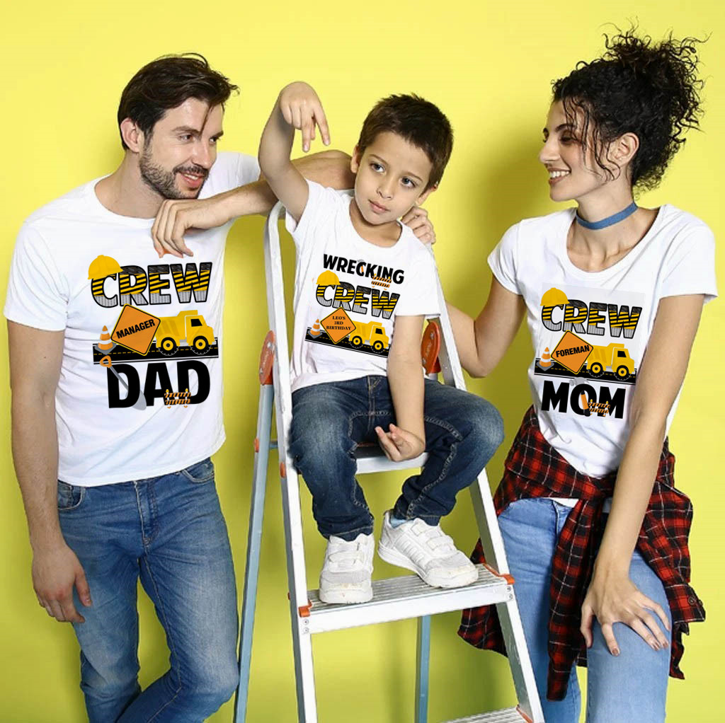 Matching Family Outfits Construction Dad Mom Birthday T-shirt Family Wrecking Crew Work Zone Custom Your Name T Shirt