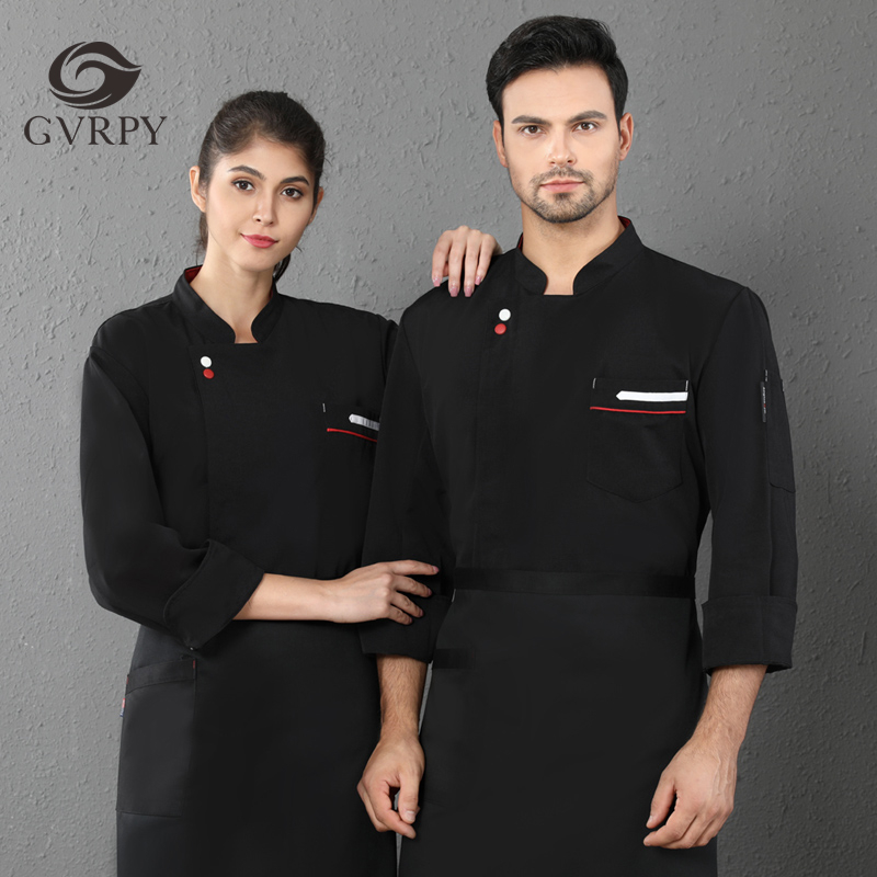 Two Buckle Solid Color Long Sleeve Chef Uniform Kitchen Cooking Jacket Breathable Unisex Hotel Cafe Barber Shop Waiter Shirt