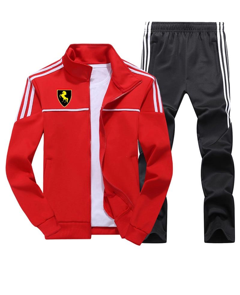 Men Jogging Track TrackSuit Sport Strips Jacket Coat Top Set Trousers Pants Sweats Suits Sportwear Fall Spring Sweatshirt