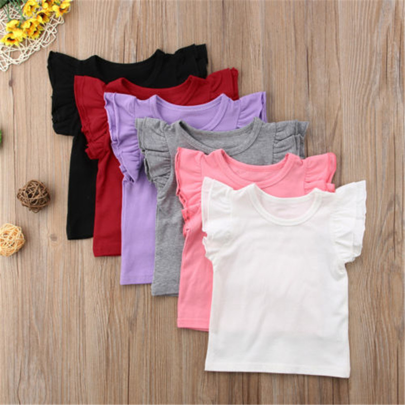 Little Girl Summer Pure T Shirt Kid Child Ruffles Sleeve Clothes T-shirts Baby Girl Children T Shirts Solid Color Wholesale