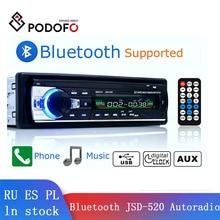 Podofo Car Radio Autoradio 1 Din Bluetooth SD MP3 Player JSD-520 car stereo FM Aux Input Receiver SD MP3/MP4 USB WMA AUX IN TF