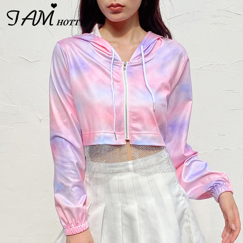 IAMHOTTY  Rainbow Tie Dye Print Mesh Patchwork Croped Womens Clothing Long Sleeve Casual Outfits Hooded Sweatshirt Jacket 2020