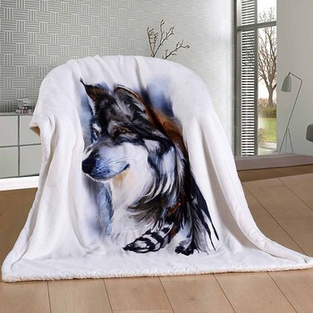 Thick Animals Wolf Blanket High Quality Winter Cotton Wool Modern Blanket On Bed Sofa Home Throw Bed Cover Bedspread