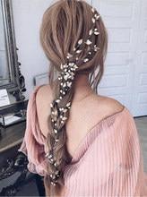 Fxmimior nupcial hecho a mano de perlas diadema boda oro rosa enredadera para el cabello boda Accesorios nupciales para el cabello
