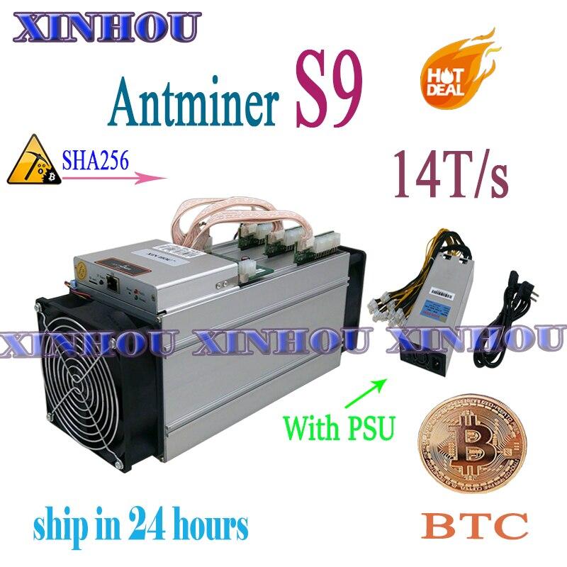 Mineur ASIC utilisé AntMiner S9 14T SHA256 avec PSU Btc BCH miner économique que Antminer S9k T17e T17 S17 S17e what sminer M3 M20S