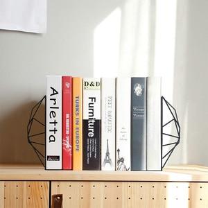 Image 2 - Новинка черные закладки, декоративные металлические книжные концы для полок, уникальный геометрический дизайн для полок, кухонных поваренных книг, декоратов