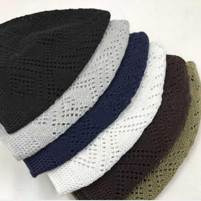 ผ้าฝ้ายถักหมวกHijabมุสลิมหมวกอิสลามสวดมนต์หมวกโครเชต์ตาข่ายภาษาสวีดิชคำHuiสัญชาติชายหมวก