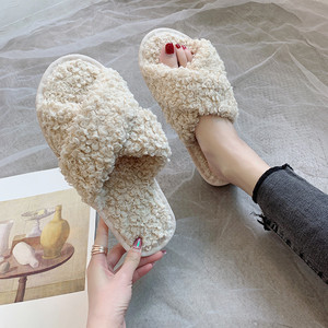 Fleeces Women Slippers Fashion Cross Shape Warm Shoes Woman Slip on Flats Female Slides Indoor Shoes(China)