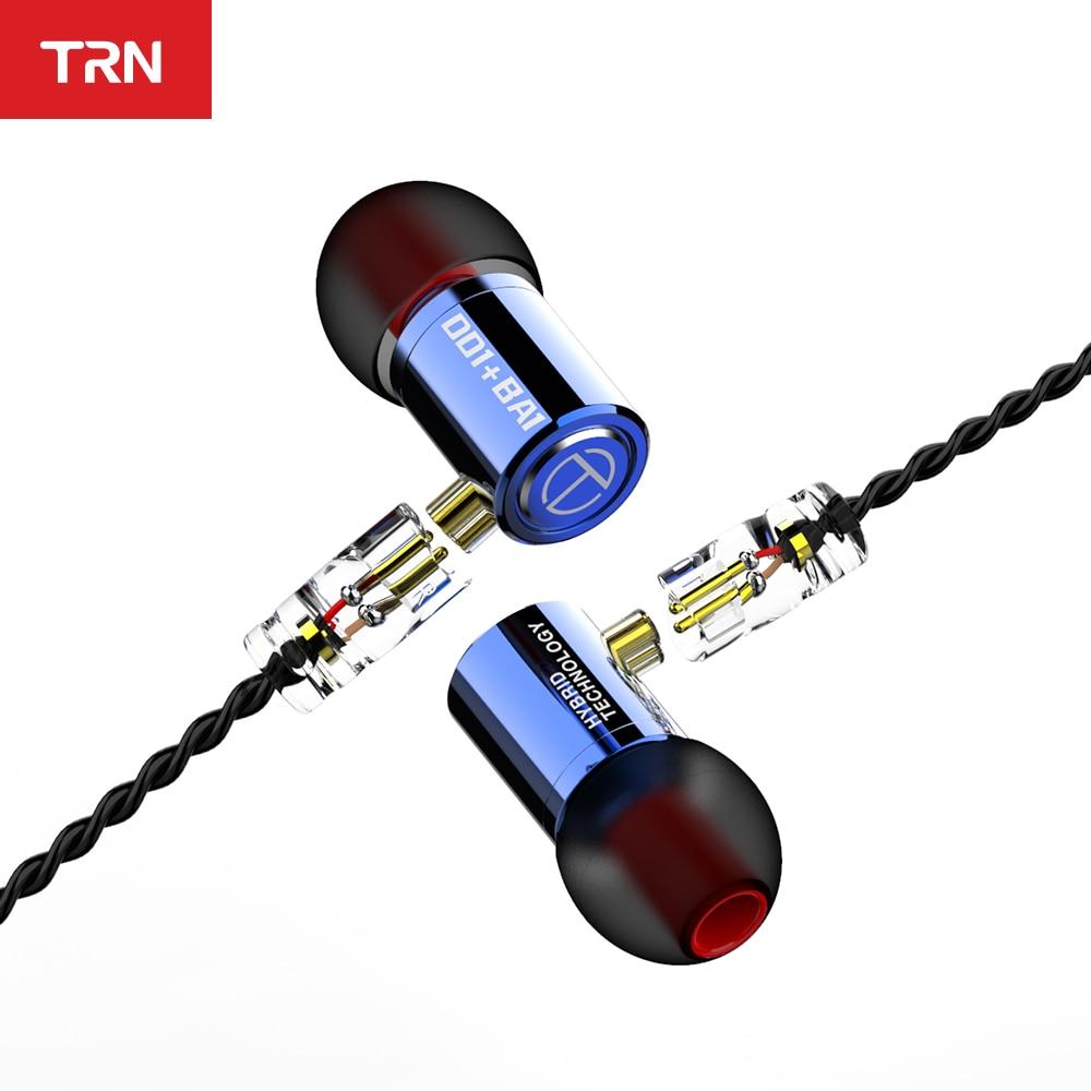 Гибридные наушники-вкладыши TRN M10 1BA + 1DD, металлические Hi-Fi мониторы, спортивные наушники, гарнитура с 2-контактным кабелем V90 VX T2 ST1