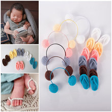 Newborn Photography Props Baby Girl Boy Photo Shoot Handmade Shoes Infant Baby Photo Costume Crochet Knitted Headphone Props
