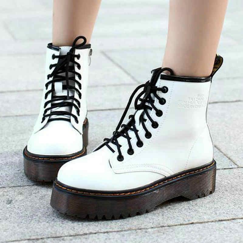 Botas de tobillo de invierno de Otoño de moda británica con