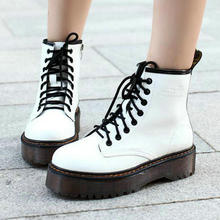 купить Fashion Creepers Women Boots Punk Short Boots Genuine Leather Shoes Women Autumn Thick Heels Ankle Boots Female Boots Ladies дешево