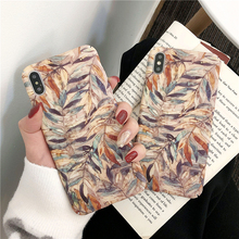 Retro Art oil painting flowers Leaf Phone Case For iphone XS Max XR X 6 7 8 Plus Fashion Vintage Colorful Leaves Hard Cover