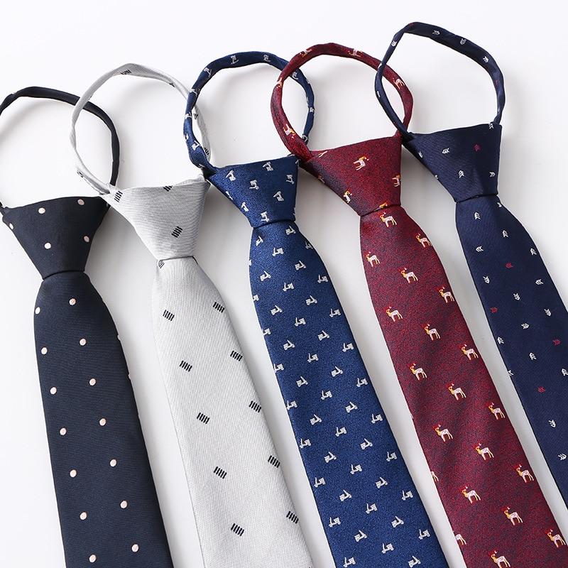 Men Necktie Zipper Lazy Tie Fashion Dot 6.5cm Ties Business For Man Gravatas Handkerchief Bow Tie Mens Wedding Shirt Accessories