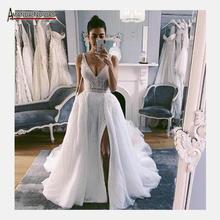Tam boncuk boho düğün elbisesi plaj gelin elbise 2020