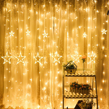 led five-pointed star curtain light inside and outside decoration small lantern string new holiday party decoration string T6 image