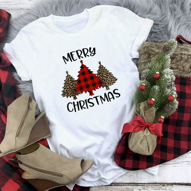 Plaid Merry Christmas T Shirt Women Fashion Graphic Cute Tee Kawaii TShirt Hipster Camiseta Mujer