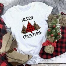 Plaid Merry Christmas T Shirt Women Fashion Graphic Cute Tee Kawaii TShirt Hipst