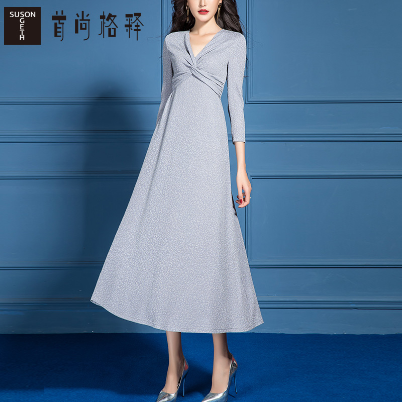 2021-Spring-New-Casual-Cross-V-Neck-A-Line-Dress-for-Women