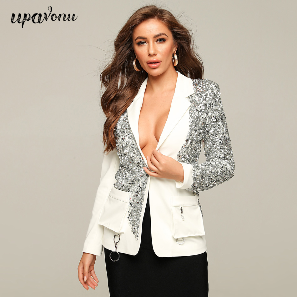 UpAvonu Sequin Stitching Blazer Women'S Sexy Lapel Long Sleeve Pocket Single Button Women'S Suit Club Party 2020 Fashion Clothes