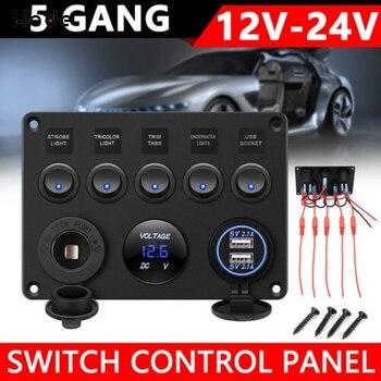 цена на 5 Gang Car Marine Switch Panel Breaker Boat Car Rocker Switch Control Digital Voltmeter Panel