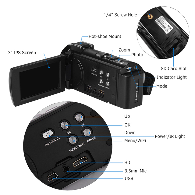 Andoer 4K WiFi Digital Video Camera Camcorder DV Recorder 30MP 16X Digital Zoom IR Night with 2pcs Batteries Microphone 6