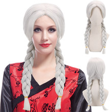 "Mexico Day of The Dead Coco Cosplay 21"" White Synthetic Hair 2x Twist Braids Wigs for Women Party Costume Halloween(China)"