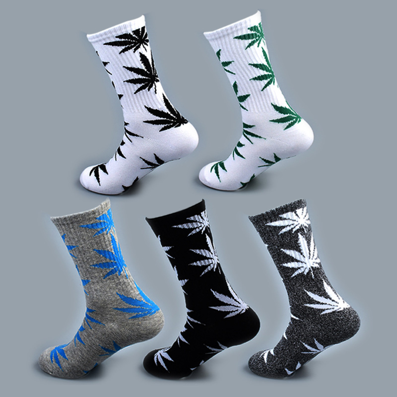Cool Bamboo Summer Women Men's Funny Ankle   Socks   Hemp Meias Long Happy Maple Leaf sokken Cotton Weed Grass White Black Socken