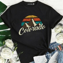 T-Shirt manches courtes Montagnes pour Femmes, vêtement féminin, # Rtf