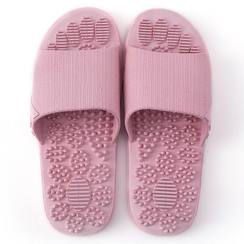 Нескользящие женские массажные тапочки; летние модные домашние уличные Вьетнамки; женская обувь; пляжные шлепанцы для ванной; мужские шлепанцы - Цвет: Розовый