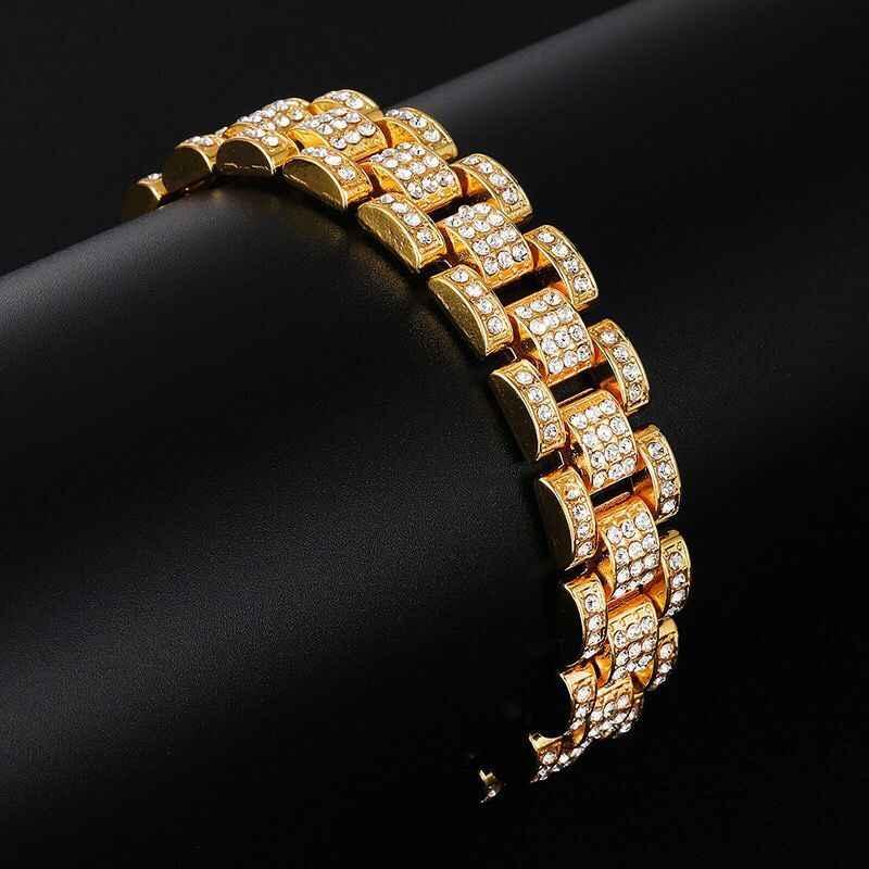 MxGxFam (22 سنتيمتر * 15 مللي متر) الهيب هوب الذهب اللون 15 مللي متر كامل بلورات ووتش أساور للرجال مجوهرات الأزياء 2019