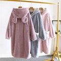 Осенне-зимняя женская фланелевая ночная рубашка Корейская утепленная Домашняя одежда пижамы кардиган халат с капюшоном пикантная одежда д...