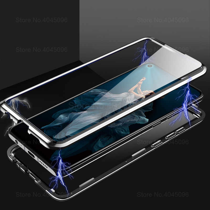 P30 Lite <font><b>Case</b></font> for Huawei P40 Lite <font><b>P20</b></font> Pro Metal Magnetic <font><b>360</b></font> Tempered Glass Cover for Honor 8X 9X 20 20S Y9 Prime 2019 Covers image