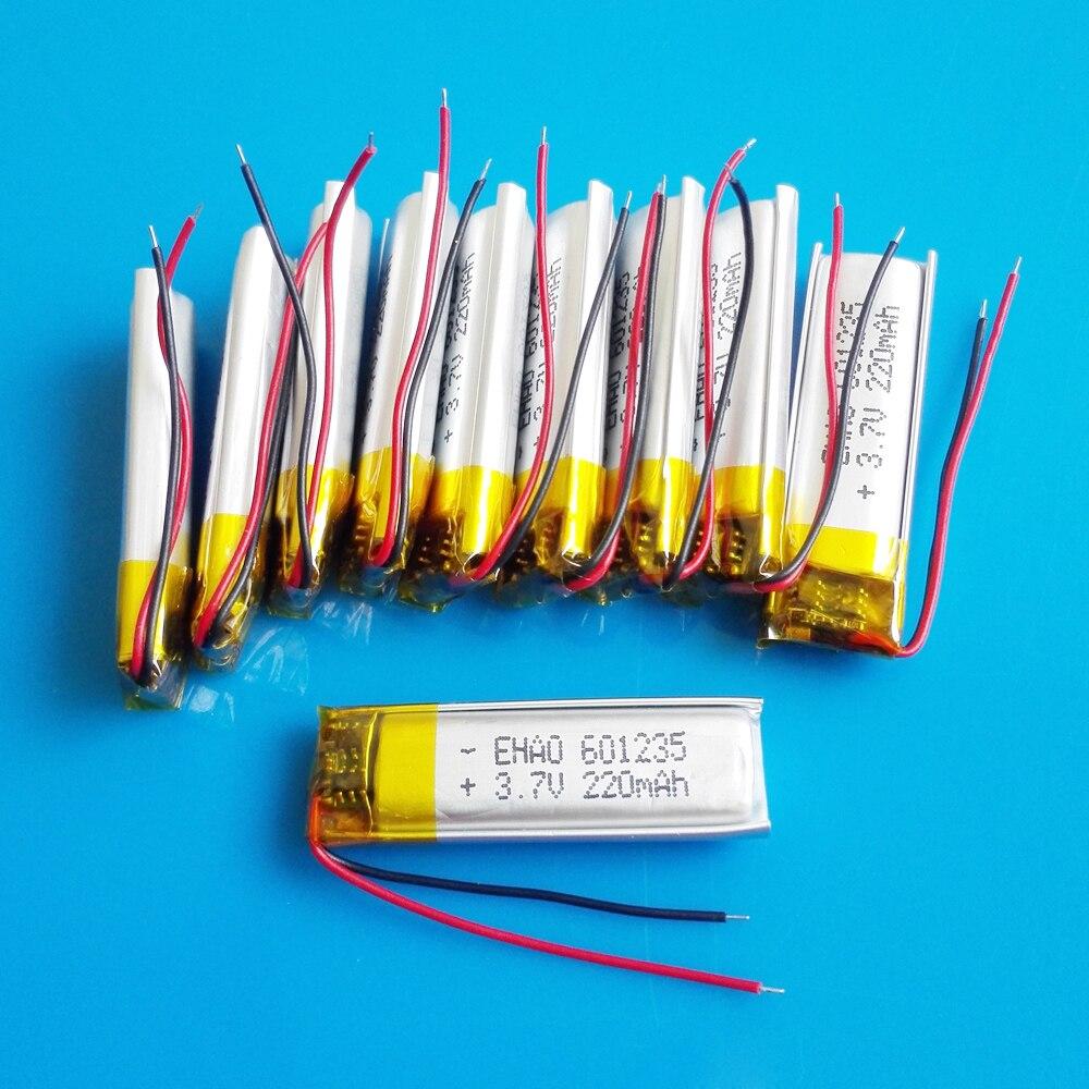 Lote 10 pces 601235 220 mah lipo polímero bateria recarregável de lítio 3.7 v para mp3 bluetooth gravador gps fone de ouvido câmera e-book