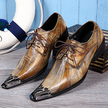 Christia Bella Classic Metal Pointed Toe Male Oxfords Shoes Brown Genuine Leather Men Party Dress Brogue Shoes Man Lacp Up Shoes brand handmade genuine leather shoes men dress oxfords shohes lace up men shoes new fashion designer brown flat male