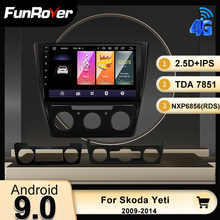 FUNROVER Android 9,0 GPS estéreo 2 din DVD para Skoda Yeti 5L 2009 - 2014 auto Radio Multimedia reproductor de vídeo navegación 4 Core RDS