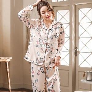 Image 4 - Silk Satin Pyjamas Women Flower Print Pajamas Sets 2019 Long Sleeve Spring Summer Sleepwear Elegant Pijama Mujer Female Nightsui