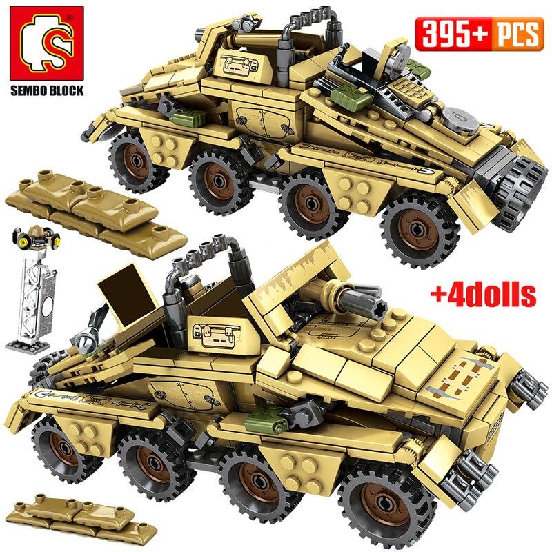 WW2 German Armored Car Model Bricks For Legoingly Military Tank Technic Assault Trucks Building Blocks Educational Toys For Boys
