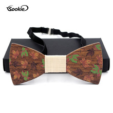 New Style Solid Wood Wooden Bow Tie Logs Retro Wood Bowtie Entirely Handmade Casual Bow Tie Wedding Wooden Bow Tie Wooden Bow premium handmade wooden bow tie for men