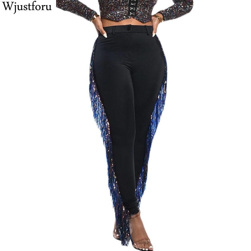 Wjustforu Colorful Fashion Tassel Pants High Waist Skinny Casual Pencil Leggings Pants Trousers Joggers Streetwear Club Pants