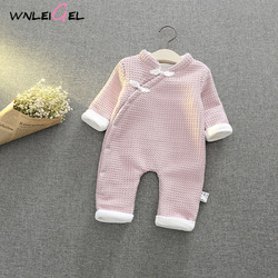 WLG new born baby winter warm thick romper cute baby solid oblique single breasted clothes toddler baby winter siamese cloth