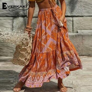 Everkaki Long Skirts Women Floral Print Boho Tassels Sashes Elastic Waist Ethnic Ladies Vintage Bottoms Female 2020 New