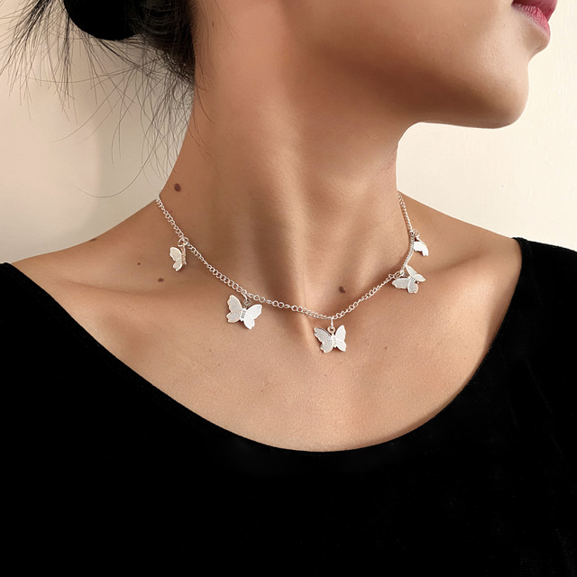 Gold Chain Butterfly Pendant Choker Necklace Women Statement Collares Bohemian Beach Jewelry Gift Collier Cheap 5