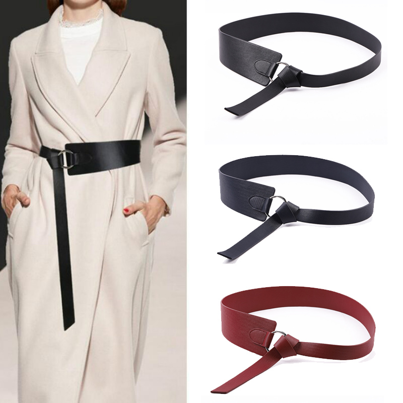 New Women Wide Leather Corset Belt Fashion Female Tie Obi Red Black Bow Leisure Belts Ladies Wedding Dress Decorative Waistband|Women