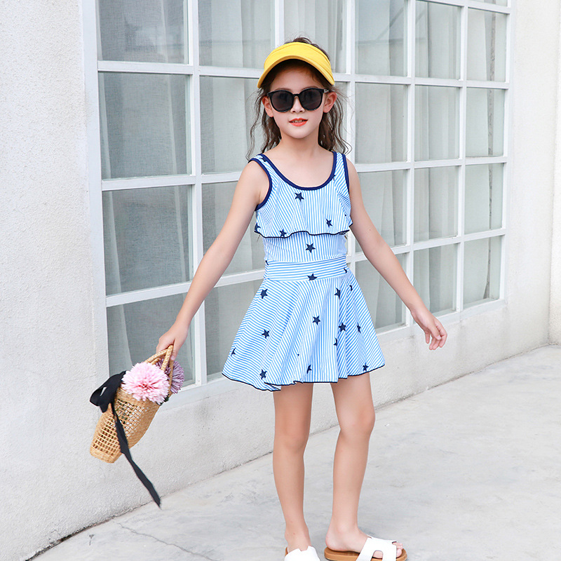 Girl'S Swimsuit Less Girls Children Middle And Large 6-15-Year-Old Students South Korea Cute Princess Dress-Style Swimming Suit